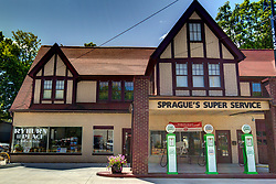Sprague's Super Service has been restored and the first occupant is Ryburn Place Gifts and Gab.  Terri Ryburn was responsible for the restoration of the building and owns the gift shop.<br /> <br /> High Dynamic Range (HDR) Processing applied.