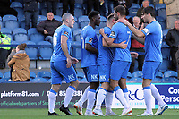 Goal Celebrations during the FA Cup fixture between Stockport County and Corby Town at Edgeley Park on 6 October 2018 / James Gill Media