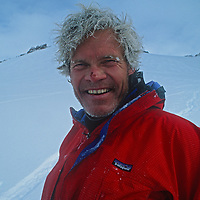 Rick Ridgeway takes a break from skiing during an expedition to Queen Maud Land, Antarctica.