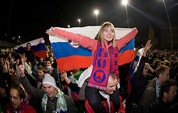 Fans of Slovenia  celebrate after  FIFA World Cup Sout Africa 2010 Qualifying Second Play off match between Slovenia and Russia, on November 18, 2009, in Stadium Ljudski vrt, Maribor, Slovenia. Slovenia won 1:0 and qualified for the FIFA World Championships 2010. (Photo by Vid Ponikvar / Sportida)