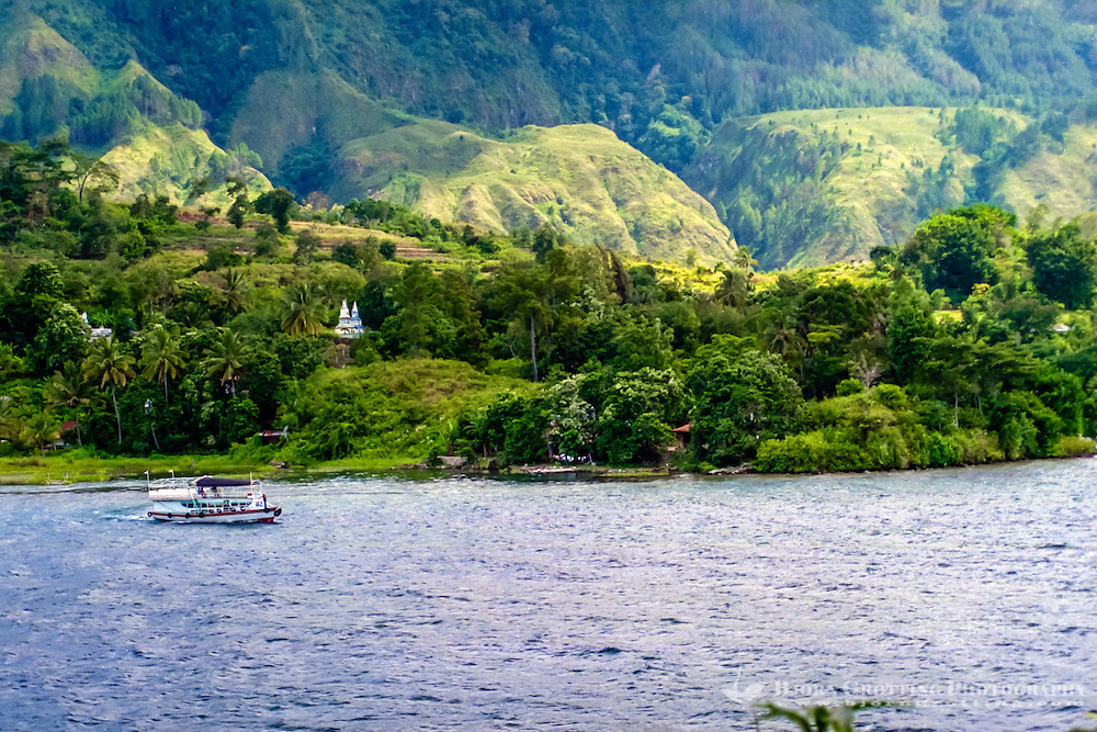 Indonesia, Sumatra. Samosir. View from south Tuk Tuk towards Samosir.