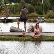 People fishing for prawns at the Huka Prawn Park,  Huka Falls Road, Taupo, New Zealand,, 7th January 2011 Photo Tim Clayton.