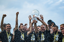 Players of NS Mura with trophy after winning final match of Slovenian footaball cup for season 2019/202 between team NK Nafta 1903 and NS Mura, Bro pri Kranju on 24 June 2020, Kranj, Slovenia. Photo by Grega Valancic / Sportida