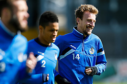 Chris Lines takes part in Bristol Rovers training before Sundays Vanamara Conference Play Off Final match against Grimsby Town at Wembley Stadium for promotion to the Football League 2 - Photo mandatory by-line: Rogan Thomson/JMP - 07966 386802 - 12/05/2015 - SPORT - FOOTBALL - Bristol, England - Memorial Stadium - Bristol Rovers Play Off Final Previews - Vanarama Conference Premier.