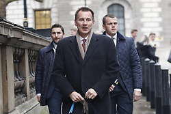 © Licensed to London News Pictures. 05/12/2018. London, UK. London, UK. Foreign Secretary Jeremy Hunt walks to Parliament for prime minister's questions. Today the House of Commons will debate on the Brexit withdrawal agreement for the second day ahead of the meaningful vote. Photo credit: Peter Macdiarmid/LNP