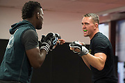 UFC welterweight Kyle Noke of Australia spars with Phil Hawes of New Jersey at Jackson Wink MMA in Albuquerque, New Mexico on June 9, 2016.