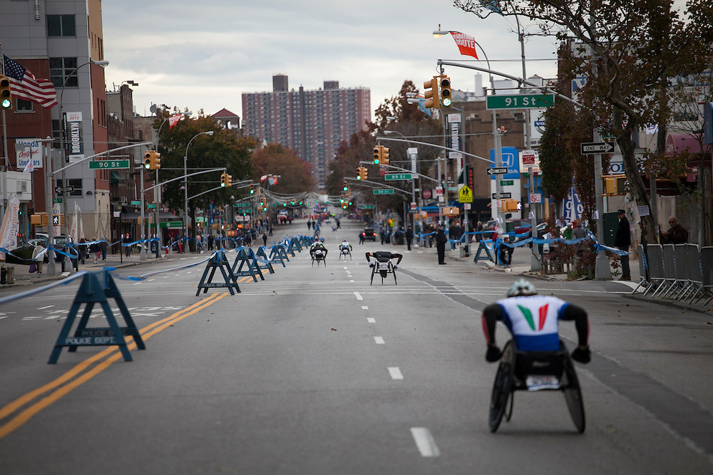 Participants in the New York City Marathon on 4th Ave in Brooklyn, NY on Sunday, Nov. 3, 2013.<br /> <br /> CREDIT: Andrew Hinderaker for The Wall Street Journal<br /> SLUG: NYSTANDALONE