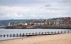 View of seafront and beach at Joppa outside Edinburgh, Scotland, UK