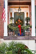 Christmas decorations on a home in historic Savannah, GA.