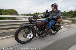 Jeff Erdman of Wisconsin riding his 1916 Harley-Davidson in the Motorcycle Cannonball Race of the Century. Day-4 ride from Bloomington, IN to Cape Girardeau, MO. USA. Wednesday September 14, 2016. Photography ©2016 Michael Lichter.