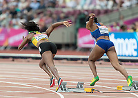 Athletics - 2017 IAAF London World Athletics Championships - Day Two (AM Session)<br /> <br /> Event: 100 Metres Women - Heat 2<br /> <br /> Rear view of Elaine Thompson (JAM) and Ariana Washington (USA) as they launch from their blocks<br /> <br /> COLORSPORT/DANIEL BEARHAM