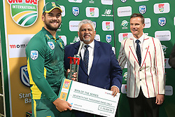 Rilee Rossouw of South Africa receives the Man of the series award during the 5th ODI match between South Africa and Australia held at Newlands Stadium in Cape Town, South Africa on the 12th October  2016<br /> <br /> Photo by: Shaun Roy/ RealTime Images