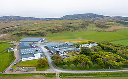 Aerial view from drone of Kilchoman scotch whisky distillery  on Islay , Inner Hebrides , Scotland, UK