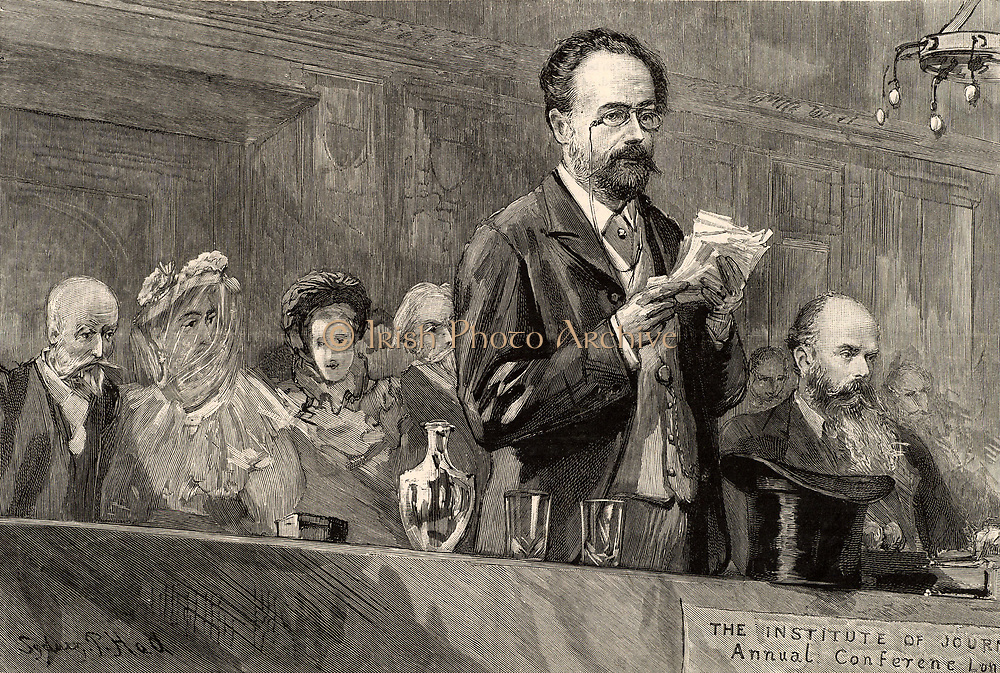 Emile Zola (1840-1902) French journalist and novelist of the Naturalistic school, addressing the conference of the Institute of Journalists in London, 1893. The title of the paper he gave was 'L'Anonymat dans la Presse' (Anonymity in Journalism). Engraving.