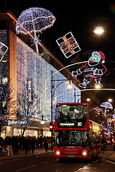 21 December 2012. London, Great Britain. <br /> Christmas lights on Oxford Street in central London. <br /> Photo; Charlie Varley