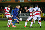 AFC Wimbledon striker Joe Pigott (39) dribbling into the box during the The FA Cup match between AFC Wimbledon and Doncaster Rovers at the Cherry Red Records Stadium, Kingston, England on 9 November 2019.