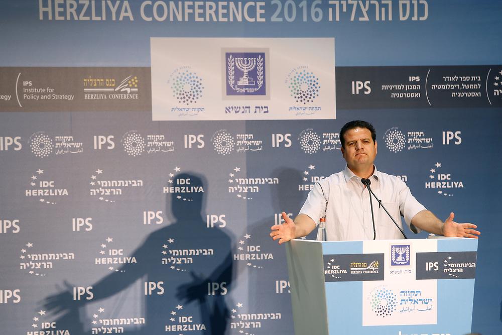 Arab-Israeli lawmaker, Member of the Knesset Ayman Odeh, speaks during the opening of Herzliya Conference 2016, held at the Israeli President's Residence in Jerusalem, on June 14, 2016.