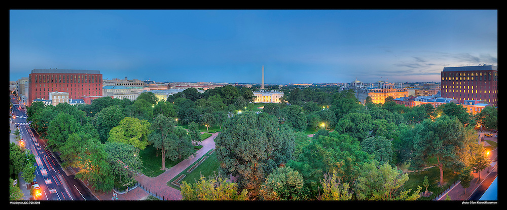 View of Layfayette Park, The White House, and Washington Monument in Washington, DC.  Print Size (in inches): 15x6; 24x10; 36x15; 48x20; 60x29; 72x30.