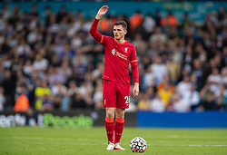 LEEDS, ENGLAND - Sunday, September 12, 2021: Liverpool's Andy Robertson prepares to take a free-kick during the FA Premier League match between Leeds United FC and Liverpool FC at Elland Road. Liverpool won 3-0. (Pic by David Rawcliffe/Propaganda)