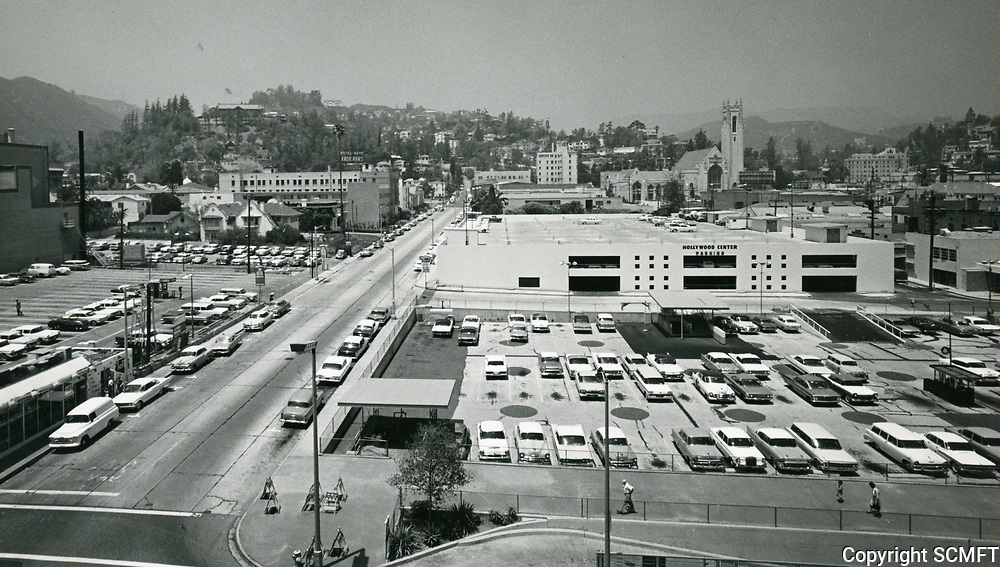 1961 Looking north from Barker Bros. building on Hollywood Blvd. at Orchid Ave.
