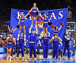 Feb 26, 2018; Lawrence, KS, USA; Kansas Jayhawks cheerleaders entertain fans during the second half against the Texas Longhorns at Allen Fieldhouse. Kansas won 80-70. Mandatory Credit: Denny Medley-USA TODAY Sports