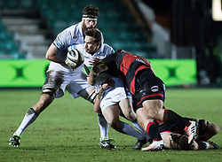 Glasgow Warriors' Ruaridh Jackson is tackled by Dragons' Lloyd Fairbrother<br /> <br /> Photographer Simon King/Replay Images<br /> <br /> Guinness PRO14 Round 14 - Dragons v Glasgow Warriors - Friday 9th February 2018 - Rodney Parade - Newport<br /> <br /> World Copyright © Replay Images . All rights reserved. info@replayimages.co.uk - http://replayimages.co.uk