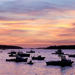 Stonington Harbor at dawn.  Stonington, Maine.