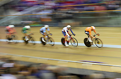 Great Britain's Oliver Wood (second right) during the Mens 40km Points Race during day four of the 2018 European Championships at the Sir Chris Hoy Velodrome, Glasgow.