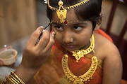 """Rini (5yrs) is very much interested to be the little goddess but the lengthy procedure of rituals and make up made her question """"how long it will take to finish?"""""""