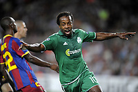 FOOTBALL - CHAMPIONS LEAGUE 2010/2011 - GROUP STAGE - GROUP D - FC BARCELONA v PANATHINAIKOS - 14/09/2010 - PHOTO JEAN MARIE HERVIO / DPPI - JOY SIDNEY GOVOU (PAN) AFTER HIS GOAL