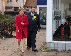 Dalkeith, Scotland, UK. 5th November 2019. First Minister Nicola Sturgeon joined Owen Thompson, SNP candidate for Midlothian, to campaign in Dalkeith at the One Dalkeith Community Hub where she met local artists and musicians. Iain Masterton/Alamy Live News.