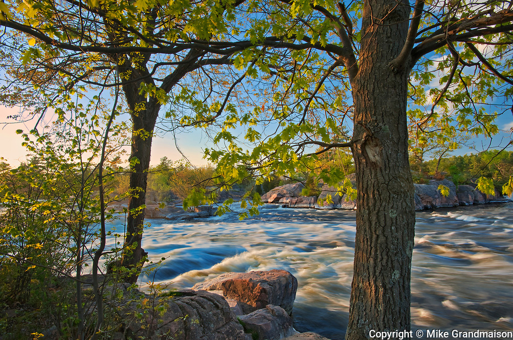 Trees and rock. The flow of water narrows between Lovesick Lake and Lower Buckhorn Lake on the west and Stoney Lake to the east creating Burleigh Falls. Kawartha Lakes. <br />Burleigh Falls<br />Ontario<br />Canada
