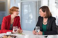15 OCT 2019, BERLIN/GERMANY:<br /> Katja Kipping (L), Die Linke, Prteivorsitzende, und Katrin Goering-Eckardt (R), B90/Gruene, Fraktionsvorsitzende, wahrend einem Doppeninterview, Hauptstadtredaktion Rheinsche Post<br /> IMAGE: 20191015-01-010<br /> KEYWORDS: Göring-Eckardt