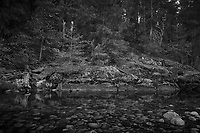 Merced River Meditation. Image taken with a Nikon D3 camera and 24-70 mm f/2.8 lens (ISO 200, 24 mm, f/22, 5 sec). Camera mounted on a tripod. Monochrome Version.