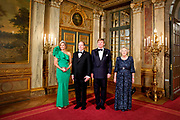 Aankomst van de koninklijke gasten op Paleis Het Loo voor het Diner.<br /> <br /> Arrival of the royal guests at Het Loo Palace for Dinner.<br /> <br /> Op de foto / On the photo: <br />  King Willem-Alexander, Queen Maxima, Princess Beatrix of The Netherlands and Prince Albert of Monaco attend the official diner at Palace het Loo