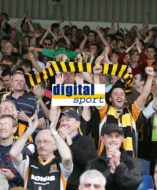 Photo: Lee Earle.<br /> Cardiff City v Hull City. Coca Cola Championship. 28/04/2007.The Hull fans celebrate at the end of the match.