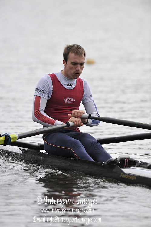 Hazewinkel, BELGIUM,  Men's Lightweight Single Sculls, Peter CHAMBERS, at the start of their race in the Sunday Afternoon Semi Finals at the British Rowing Senior Trails, Bloso Rowing Centre. Sunday,  11/04/2010. [Mandatory Credit. Peter Spurrier/Intersport Images]