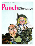 21st May 1975 Punch magazine front cover. Where To, Lady? (Margaret Thatcher as Don Quixote and Willie Whitelaw as Sancho Panza)