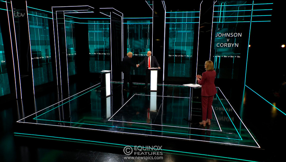 Broadcast TV, United Kingdom - 19 November 2019<br /> Labour leader Jeremy Corbyn and Prime Minister Boris Johnson debate live on ITV tonight as part of the 2019 general election campaign.<br /> (supplied by: Supplied by: EQUINOXFEATURES.COM)<br /> Picture Data:<br /> Contact: Equinox Features<br /> Date Taken: 20191119<br /> Time Taken: 203235<br /> www.newspics.com