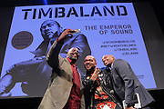 NEW YORK, NY-NOVEMBER 16: (L-R) Dr. Jelani Cobbs,  Music Producer Timbaland and Dr. Khalil G. Muhammad, Director, The Schomburg Center attends 'Between The Lines' series featuring Music Producer Timbaland new book ' The Emperor of Sound' held at the The Schomburg Center for Research in Black Culture on November 16, 2015 in Harlem, New York City.  (Photo Terrence Jennings/terrencejennings.com)