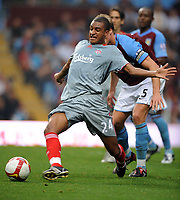David Ngog<br /> Liverpool 2008/09<br /> Martin Laursen Aston Villa<br /> Aston Villa V Liverpool 31/08/08<br /> The Barclays Premier League<br /> Photo Robin Parker Fotosports International
