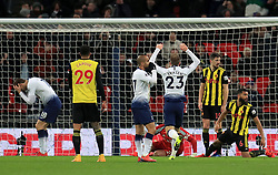 Tottenham Hotspur players look dejected after Fernando Llorente misses from close range during the Premier League match at Wembley Stadium, London.