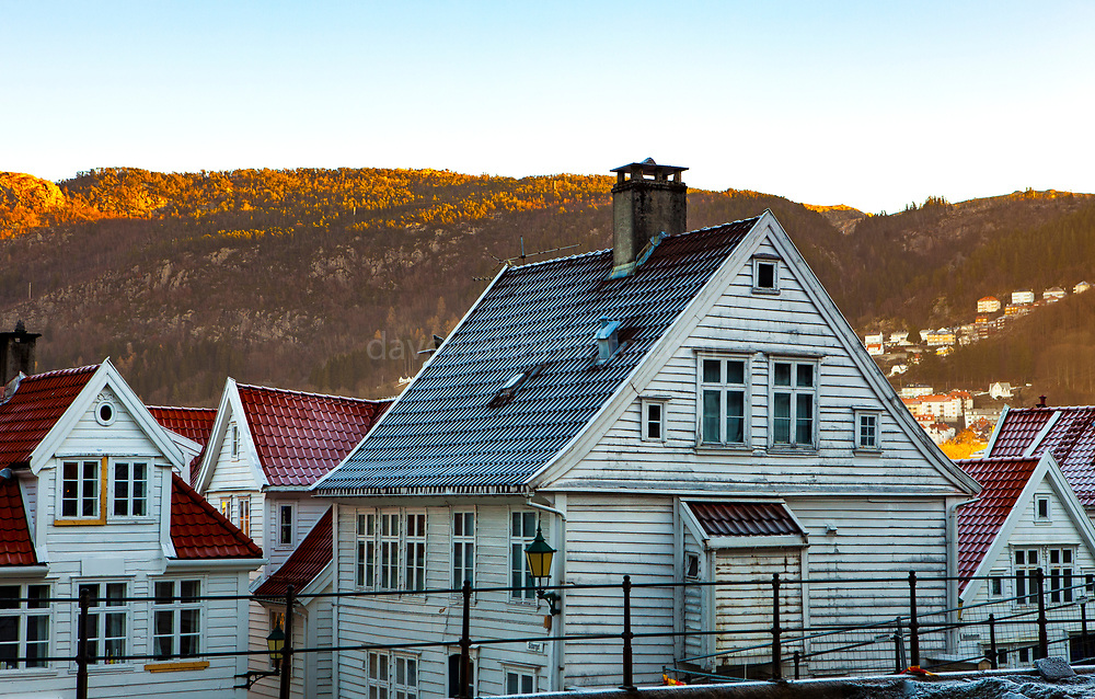 Morning early winter forest on houses in Bergen, Norway