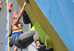 HUAI'AN, Oct. 10, 2018  Ala Joanne of the Phillipines competes during the women's lead semifinal at ''The Belt and Road'' International Climbing Master Tournament 2018 in Huai'an City, east China's Jiangsu Province, Oct. 10, 2018. (Credit Image: © Xinhua via ZUMA Wire)