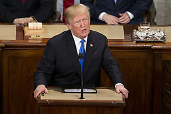January 30, 2018 - Washington, District Of Columbia, USA - United States President DONALD J. TRUMP delivers the State Of The Union Address to a joint session of the Congress at the United States Capitol in Washington, D.C. on January 30, 2018. (Credit Image: © Alex Edelman via ZUMA Wire)
