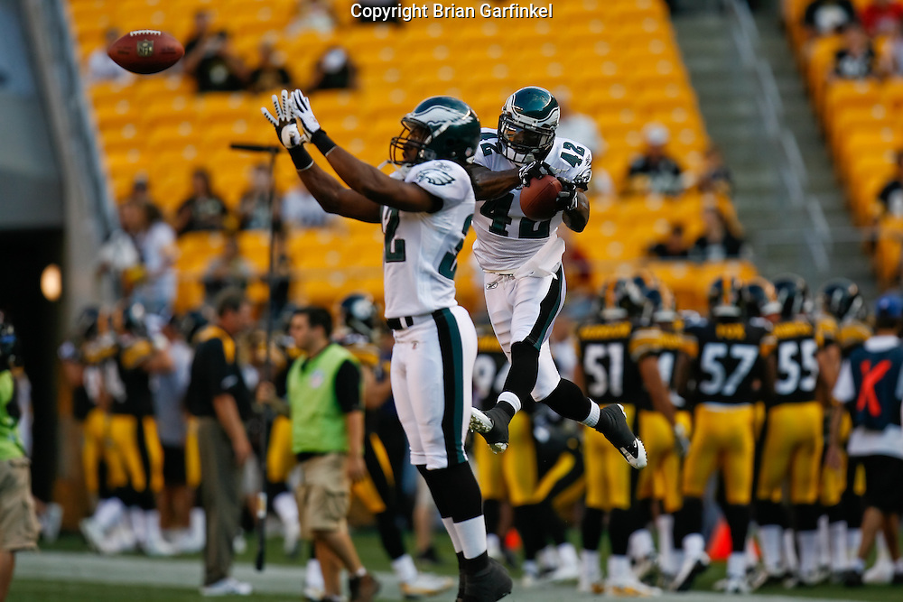 Pittsburgh, PA - PITTSBURGH - AUGUST 8:  Philadelphia Eagles Cornerback Kyle Arrington #42 and Safety Marcus Paschal #32 work through a drill before the game against the Pittsburgh Steelers on August 8, 2008 at Heinz Field in Pittsburgh, Pennsylvania. The Steelers won 16-10. (Photo by Brian Garfinkel)