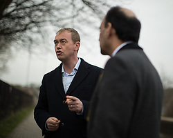 © Licensed to London News Pictures . 14/02/2017 . Stoke-on-Trent , UK . Lib Dem leader TIM FARRON joins candidate DR ZULFIQAR ALI , campaigning at Festival Park Marina in Etruria , in the Stoke Central by-election . Photo credit : Joel Goodman/LNP