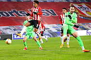 Donyell Malen of PSV Eindhoven shoots to score his sides first goal during the UEFA Europa League, Group E football match between PSV and Omonia Nicosia on December 10, 2020 at Philips Stadion in Eindhoven, Netherlands - Photo Perry vd Leuvert / Orange Pictures / ProSportsImages / DPPI