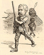 Henry Morton Stanley (1840-1904) born John Rowlands at Denbigh, Wales, Welsh-born American journalist and explorer.   Cartoon by Edward Linley Sambourne in the Punch's Fancy Portraits series from 'Punch' (London, 28 October 1882).