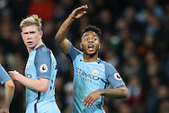 Kevin De Bruyne and Raheem Sterling of Manchester City during the English Premier League match at The Etihad Stadium, Manchester. Picture date: December 12th, 2016. Photo credit should read: Lynne Cameron/Sportimage